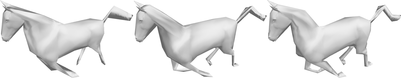 Horse simplified from the rest pose, with the animation-space metric, and using influence simplification